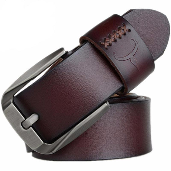 West Louis™ Vintage Style Pin Buckle Cow Genuine Leather Belt