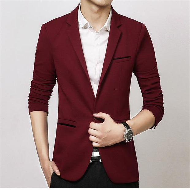 West Louis™ Luxury High Quality Cotton Blazer red wine / XL - West Louis