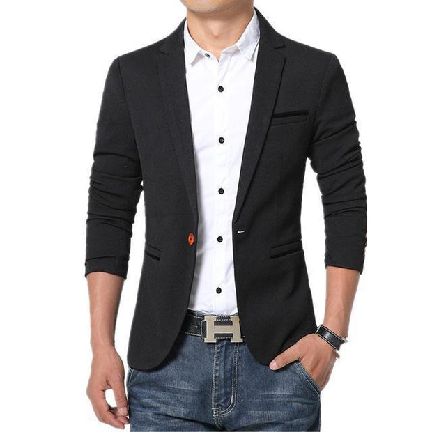 West Louis™ Luxury High Quality Cotton Blazer Black / XL - West Louis