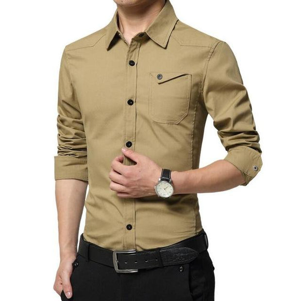 West Louis™ High Quality Summer Dress Shirt Khaki / M - West Louis