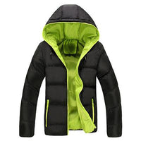 West Louis™ Parka Warm  Hooded Padded Jacket Black Green / L - West Louis