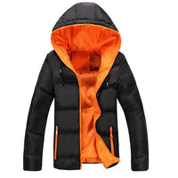 West Louis™ Parka Warm  Hooded Padded Jacket Black Orange / L - West Louis