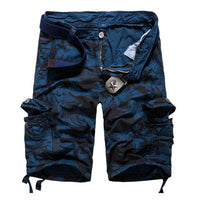 West Louis™ Camouflage Cotton Cargo Shorts Blue / 34 - West Louis