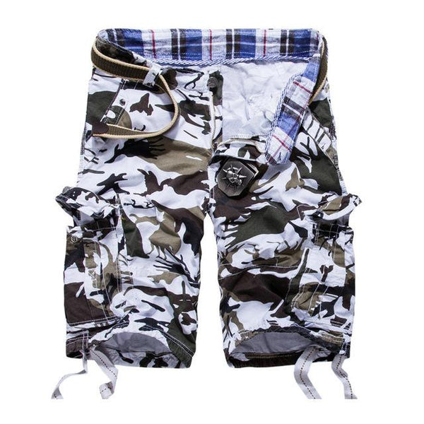 West Louis™ Camouflage Cotton Cargo Shorts White / 34 - West Louis