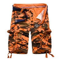 West Louis™ Camouflage Cotton Cargo Shorts Orange / 34 - West Louis