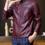 West Louis™ Motorcycle Leather Jacket Wine Red / M - West Louis
