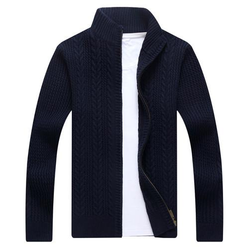 West Louis™ Autumn Whiter Knitwear Zipper Sweater Navy blue / M - West Louis