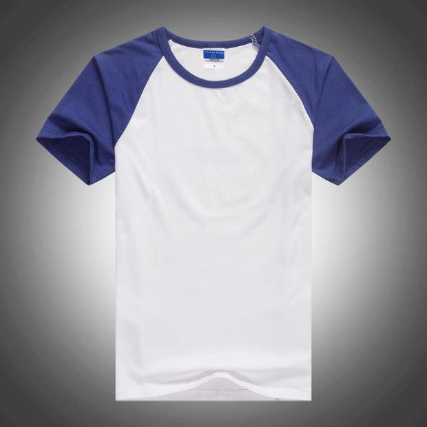 West Louis™ Summer Round Collar Cotton T-shirt Blue / XS - West Louis