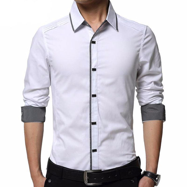 West Louis™ High Quality Men Slim Fit Dress Shirt  - West Louis