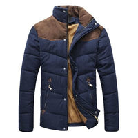 West Louis™  Banded Collar Padded Down Jacket Navy Blue / M - West Louis