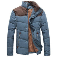 West Louis™  Banded Collar Padded Down Jacket Denim Blue / M - West Louis
