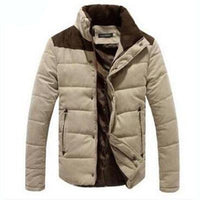 West Louis™  Banded Collar Padded Down Jacket Khaki / XL - West Louis