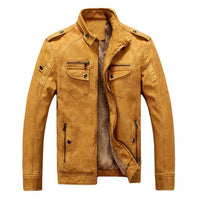 West Louis™ Winter Fashion PU Leather Jacket Yellow / XL - West Louis