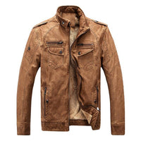 West Louis™ Winter Fashion PU Leather Jacket Brown / XL - West Louis