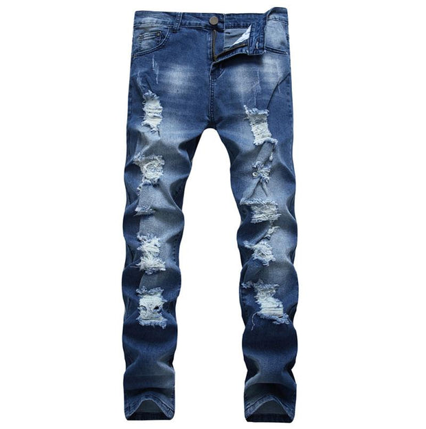 West Louis™ Denim Ripped Slim Jeans blue2 / 29 - West Louis