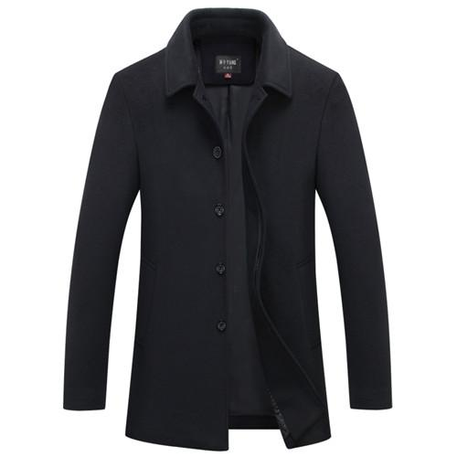 West Louis™ Single Breasted Woolen Coat Black Blue / M - West Louis