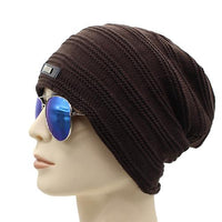 West Louis™ Baggy Solid Beanie coffee - West Louis