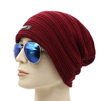 West Louis™ Baggy Solid Beanie wine red - West Louis