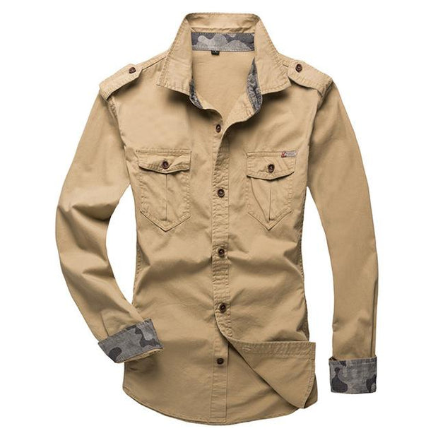 West Louis™ Modern Long Sleeve Shirt khaki / XS - West Louis