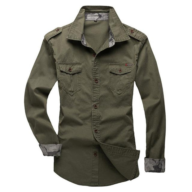West Louis™ Modern Long Sleeve Shirt army green / XS - West Louis