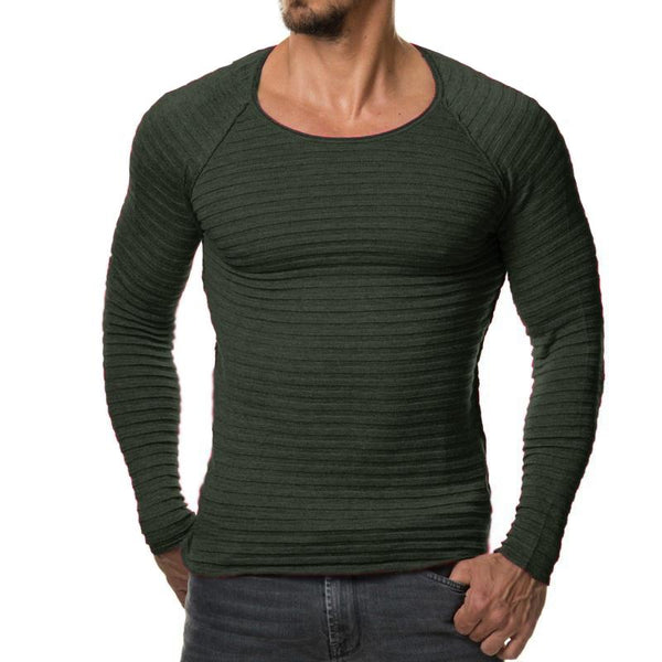 West Louis™  Vertical Stripes Hedging O-Neck Pullover  - West Louis
