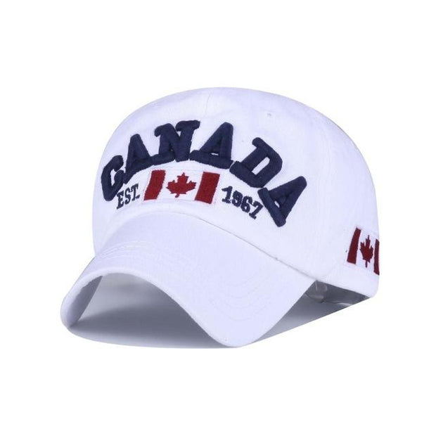 West Louis™ Canada Snapback Baseball Cap White - West Louis