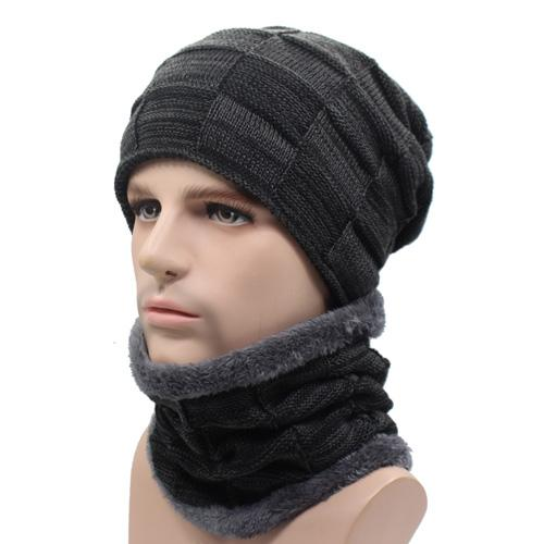 West Louis™ Gorros Knitted Hat + Neck Warmer black gray - West Louis