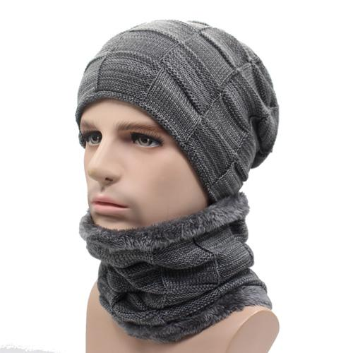 West Louis™ Gorros Knitted Hat + Neck Warmer gray - West Louis