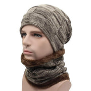 West Louis™ Gorros Knitted Hat + Neck Warmer khaki - West Louis