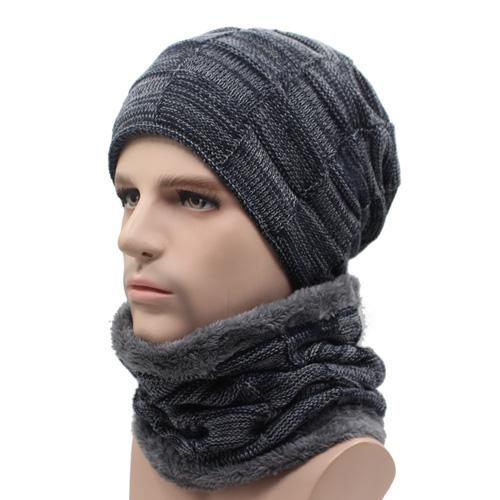West Louis™ Gorros Knitted Hat + Neck Warmer navy gray - West Louis