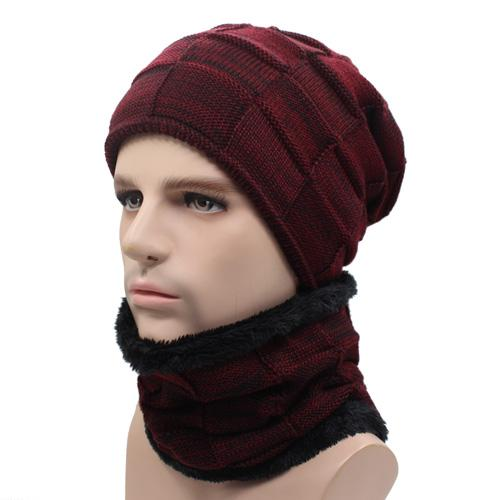 West Louis™ Gorros Knitted Hat + Neck Warmer wine red - West Louis