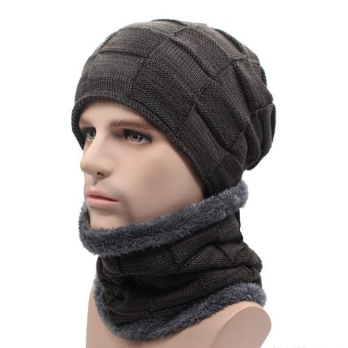 West Louis™ Gorros Knitted Hat + Neck Warmer coffee - West Louis