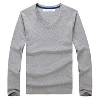 West Louis™ Cotton Male Long Sleeves V-Neck Shirt Gray / L - West Louis