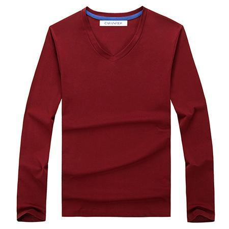 West Louis™ Cotton Male Long Sleeves V-Neck Shirt Red / L - West Louis
