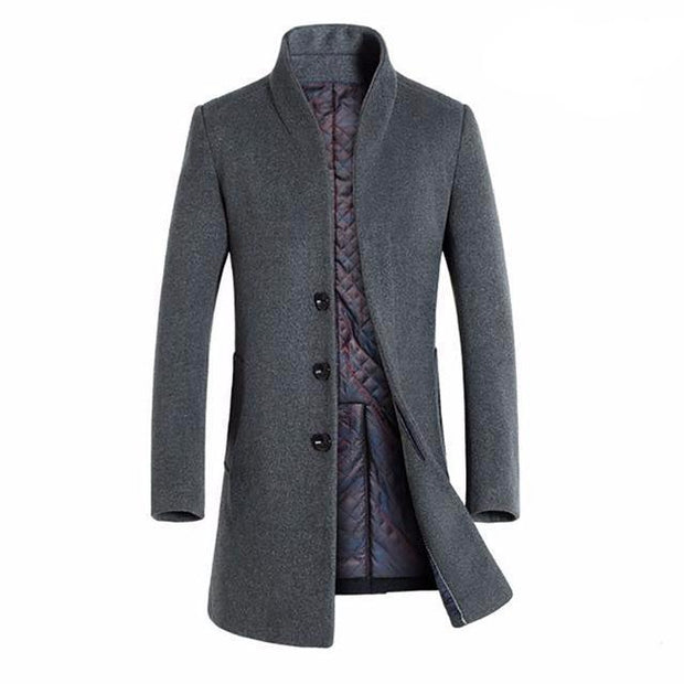 West Louis™ Winter Woolen Long Peacoat Grey / M - West Louis