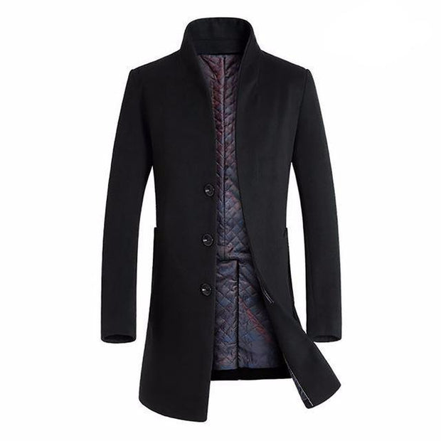 West Louis™ Winter Woolen Long Peacoat Black / M - West Louis