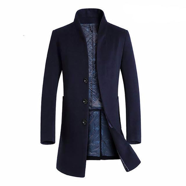 West Louis™ Winter Woolen Long Peacoat Navy blue / M - West Louis