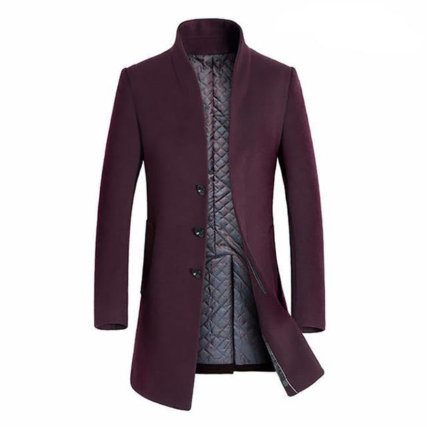 West Louis™ Winter Woolen Long Peacoat Wine red / M - West Louis