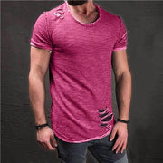 West Louis™ Ripped Slim Fit Cotton T-Shirt Pink / S - West Louis