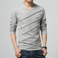 West Louis™ Designer Made V Collar T Shirt Gray / S - West Louis