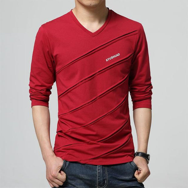 West Louis™ Designer Made V Collar T Shirt Red / S - West Louis