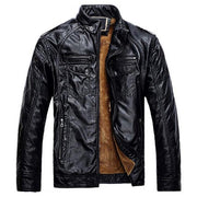 West Louis™ Thicken Washed Leather Windbreaker Jacket Black / M - West Louis