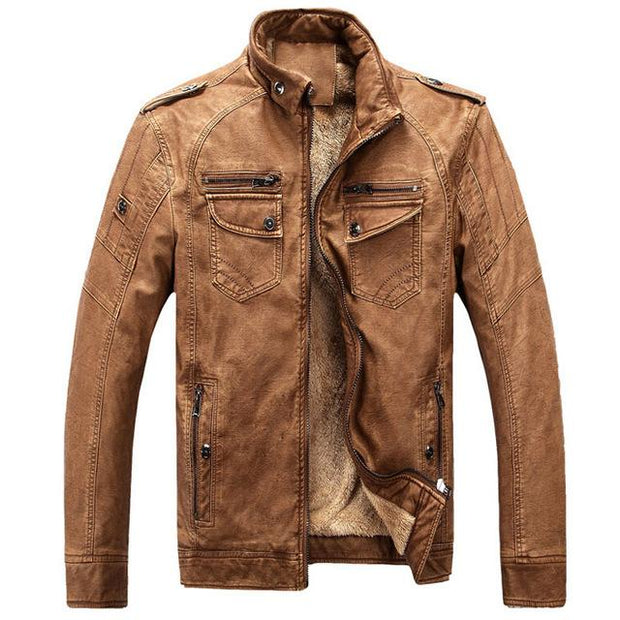 West Louis™ Thicken Washed Leather Windbreaker Jacket Brown / M - West Louis