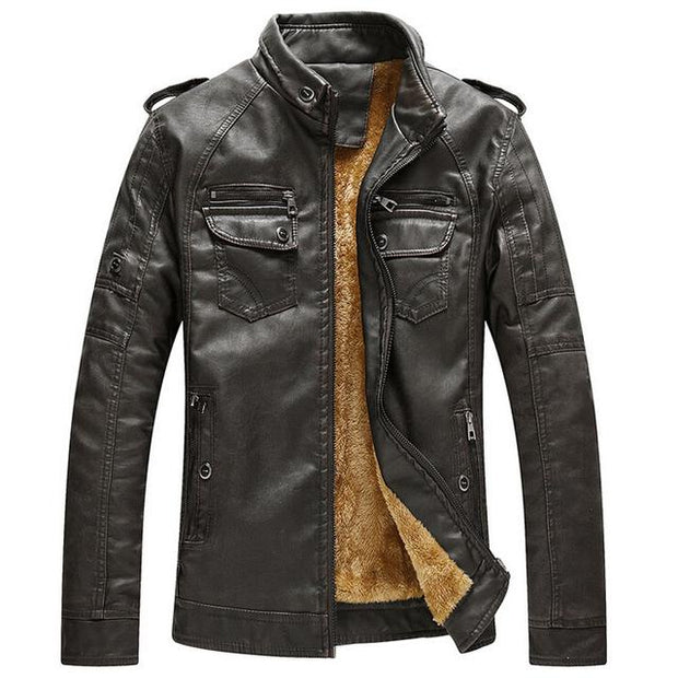 West Louis™ Thicken Washed Leather Windbreaker Jacket Dark Coffee / M - West Louis