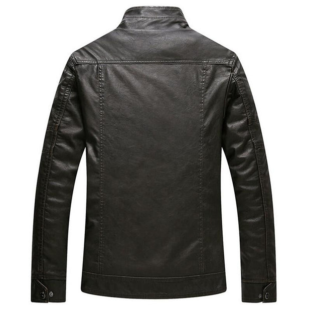 West Louis™ Thicken Washed Leather Windbreaker Jacket  - West Louis