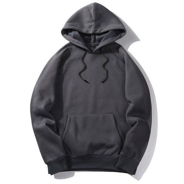 West Louis™ Casual Solid Hoodie Dark Grey / S - West Louis
