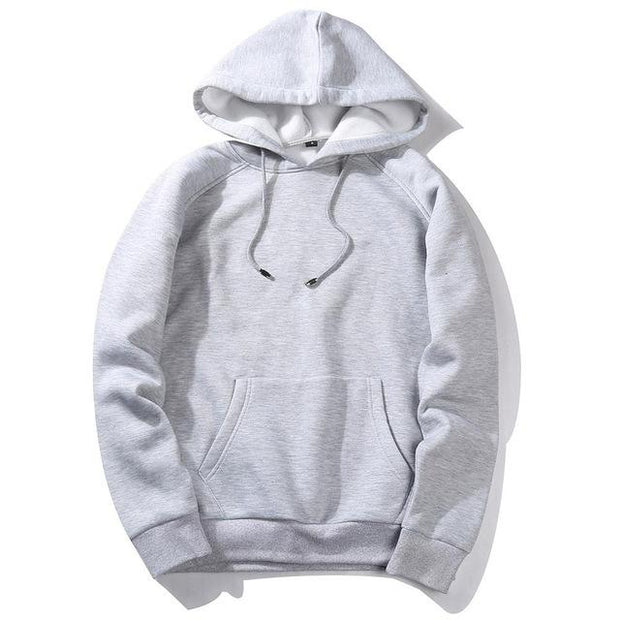 West Louis™ Casual Solid Hoodie Grey / S - West Louis