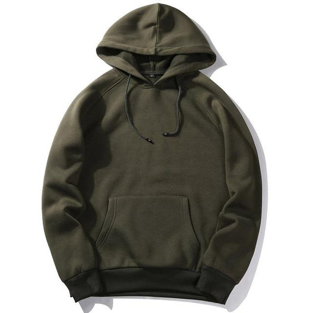 West Louis™ Casual Solid Hoodie Army Green / S - West Louis