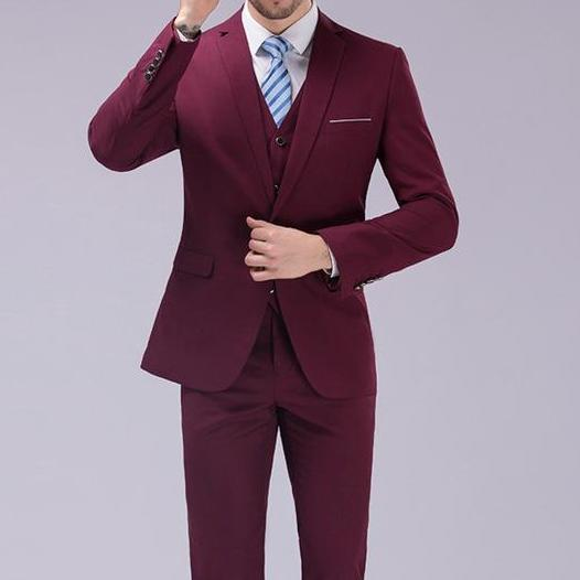 West Louis™ - Luxury Slim Fit 3-pieces Suit(Jacket+Vest+Pants) Wine Red / S - West Louis