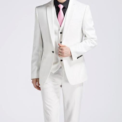 West Louis™ - Luxury Slim Fit 3-pieces Suit(Jacket+Vest+Pants) White / S - West Louis